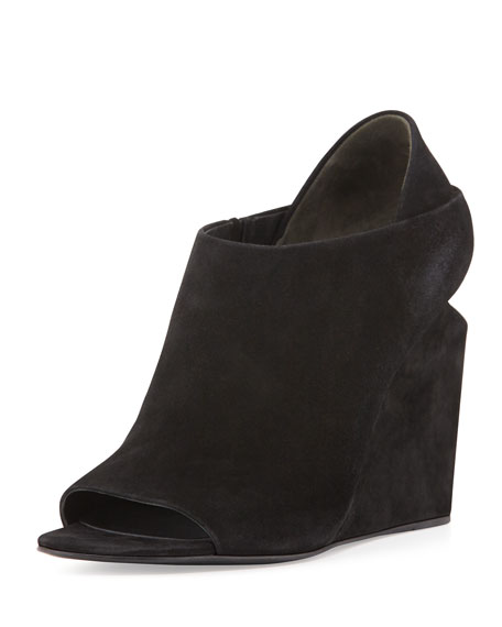 Alla Suede Peep-Toe Lift-Heel Wedge, Black