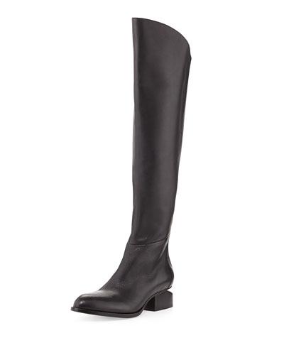 Sigrid Lift-Heel Leather Knee Boot, Black