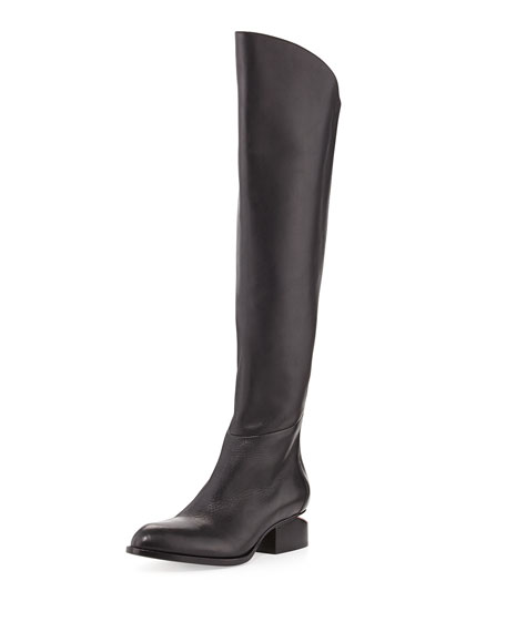 Alexander Wang Sigrid Lift-Heel Leather Knee Boot, Black