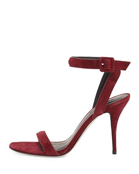 Antonia Suede Ankle-Wrap Sandal, Beet