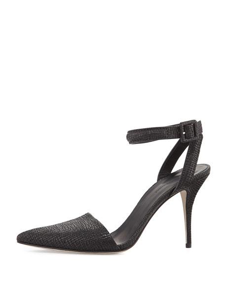 Lovisa Textured Ankle-Wrap Pump, Black