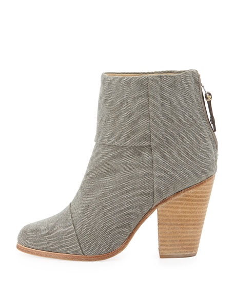 Newbury Canvas Ankle Boot, Dark Gray