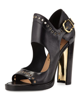 Salvatore Ferragamo Narny Leather Grommet-Trim Sandal