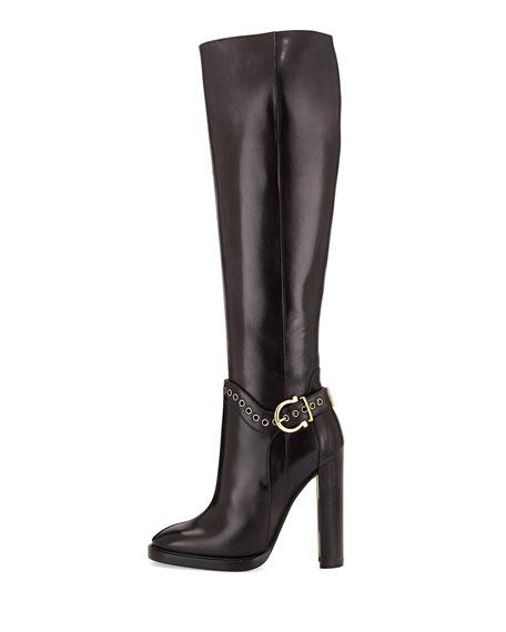 Nadix Harness-Strap Knee Boot, Dark Gray