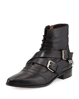 Tabitha Simmons Double-Buckled Lace-Up Ankle Boot,Black