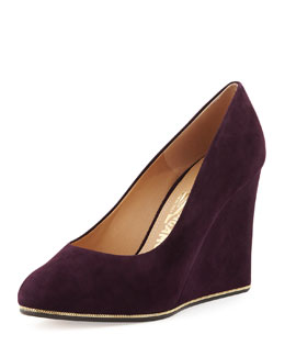 Salvatore Ferragamo Fiamma Suede Wedge Pump, Plum