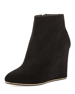 Salvatore Ferragamo Fiamma Suede Wedge Bootie, Black