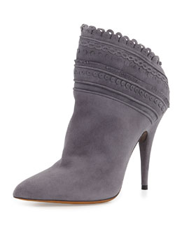 Tabitha Simmons Harmony Scalloped Ankle Boot, Gray