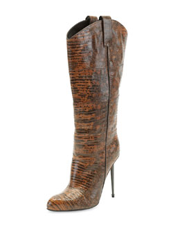 Tom Ford Leather Mid-Calf Western-Cut Stiletto Boot, Brown/Gunmetal