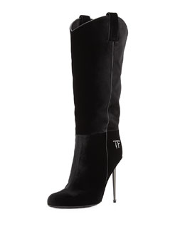 Tom Ford Velvet Mid-Calf Western-Cut Stiletto Boot, Black/Gunmetal