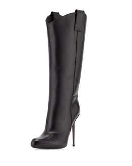 Tom Ford Leather Mid-Calf Western-Cut Stiletto Boot, Black/Gunmetal