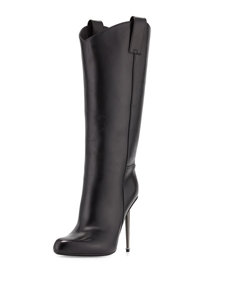 Leather Mid-Calf Western-Cut Stiletto Boot, Black/Gunmetal