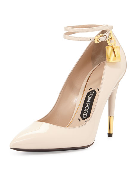 TOM FORD Patent Ankle-Lock Pump, Nude