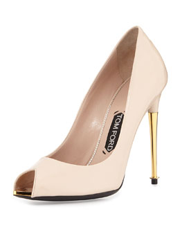 Tom Ford V-Cut Peep-Toe Patent Pump, Nude