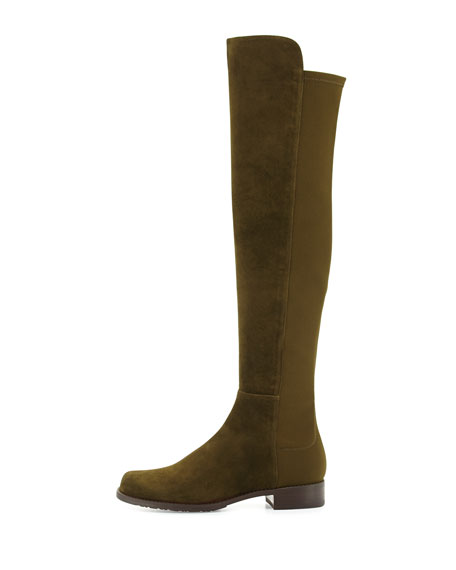 50/50 Suede Over-the-Knee Boot, Olive