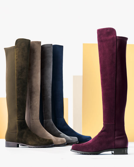 50/50 Suede Over-the-Knee Boot, Smoke