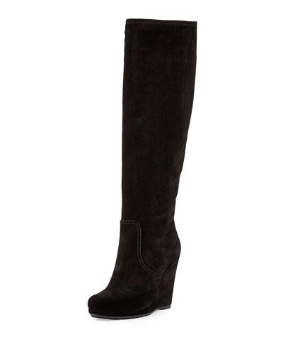 Prada Linea Rossa Suede Wedge Knee Boot