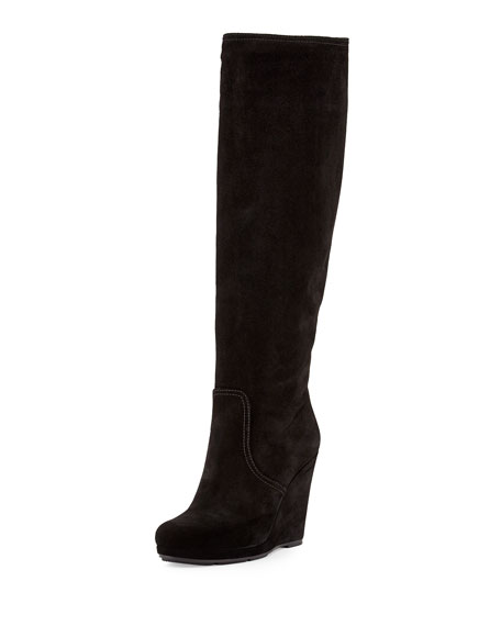 buy cheap uk availability famous brand Prada Suede Wedge Knee Boot | Neiman Marcus