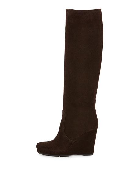 Prada Suede Wedge Knee Boot, Ghaia