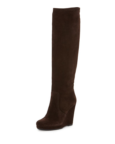 Prada Linea Rossa Suede Wedge Knee Boot, Brown
