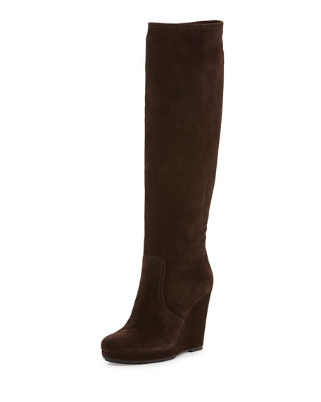 Prada Suede Wedge Knee Boot, Ghaia