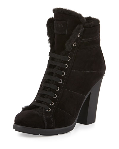 Prada Linea Rossa Suede Lace-Up Ankle Boot with Faux-Fur Lining, Nero