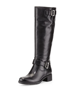 Prada Linea Rossa Leather Moto Knee Boot