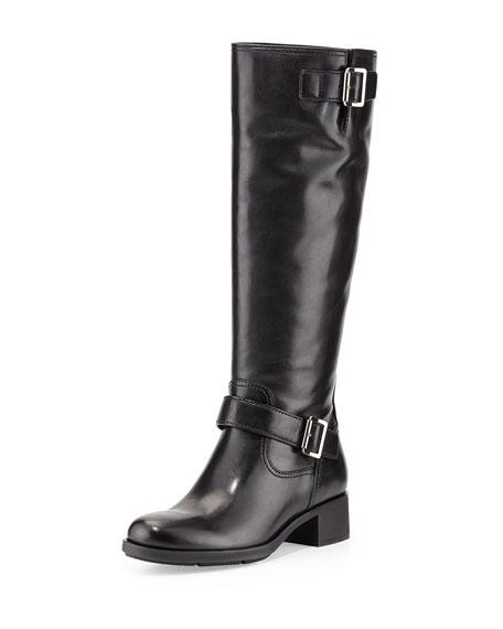 Leather Moto Knee Boot