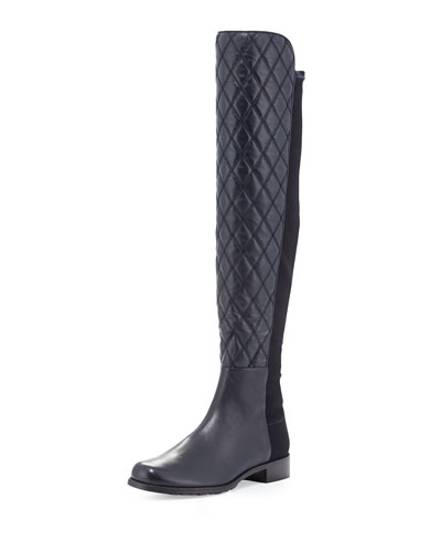 Stuart Weitzman Quiltboot 50/50 Over-the-Knee Boot, Navy (Made to Order)