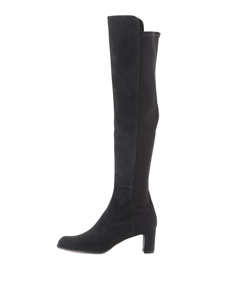 50/50 Mid-Heel Suede & Stretch Boot, Nice Blue