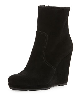 Prada Linea Rossa Suede Wedge Ankle Boot, Nero