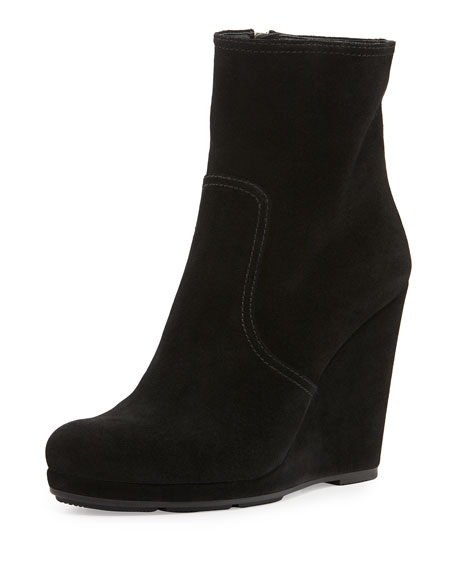 Suede Wedge Ankle Boot, Nero