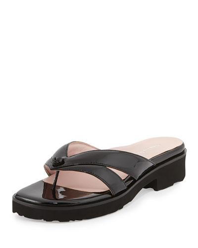 Taryn Rose Tacy Patent Thong Sandal, Black