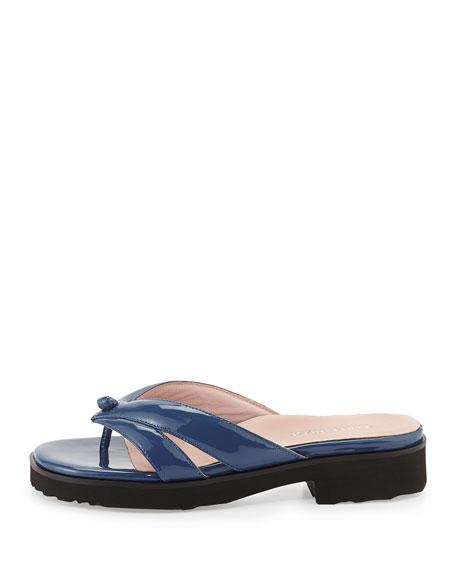 Tacy Patent Thong Sandal, Blue