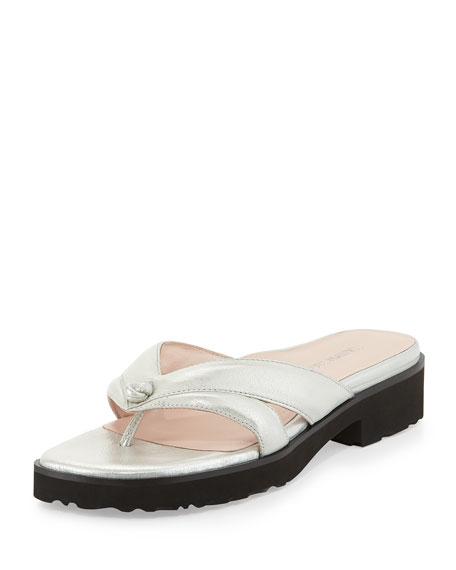 Tacy Metallic Thong Sandal, Silver