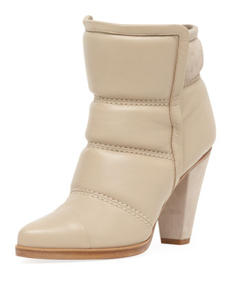 Chloe Padded Leather Runway Bootie, Linen Beige