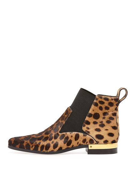 Leopard-Print Calf Hair Ankle Boot