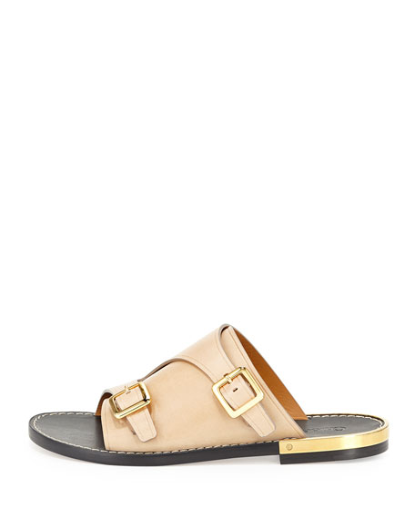 Buckled Leather Flat Side Sandal, Rope Beige