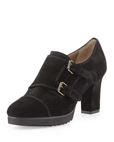 Anyi Lu Nancy Suede Monk Strap Bootie, Black