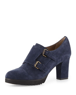 Anyi Lu Nancy Suede Monk Strap Bootie, Midnight