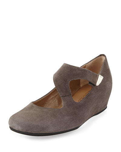 Shirlee Suede Grip-Strap Wedge, Graphite