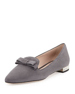 Miu Miu Suede Crystal-Heel Bow Loafer, Gray