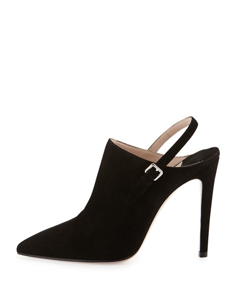 Suede Point-Toe Ankle Boot, Nero