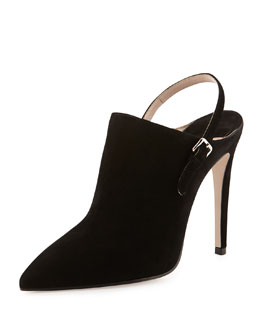 Miu Miu Suede Point-Toe Ankle Boot, Nero