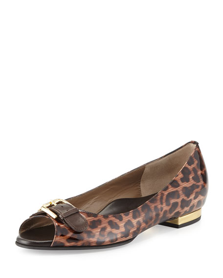 Eric Peep-Toe Patent Ballerina Flat, Leopard