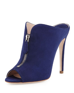 Miu Miu High-Heel Zip-Front Mule, Navy