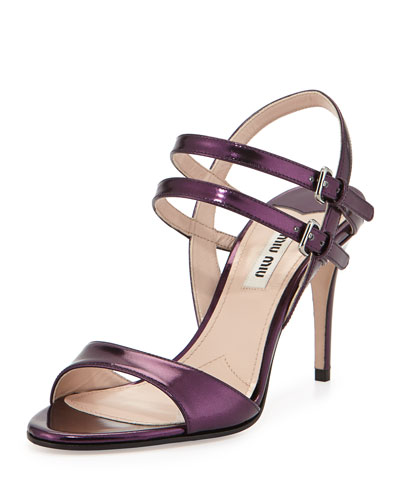 Metallic Double-Strap Sandal, Berry