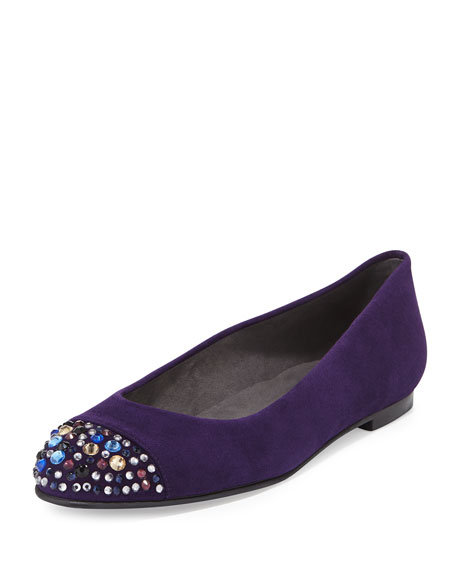 Bubbly Crystal-Toe Suede Flat, Hyacinth