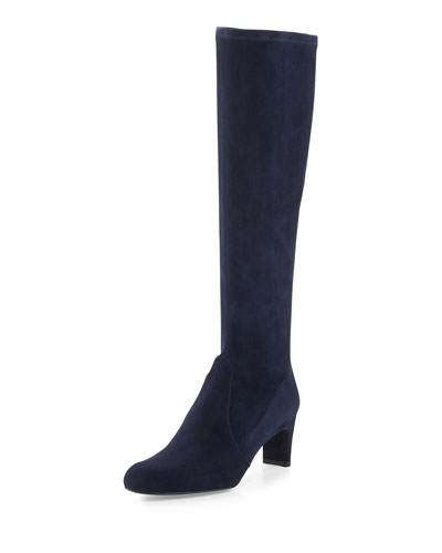 Stuart Weitzman Chicboot Stretch Suede Boot, Nice Blue