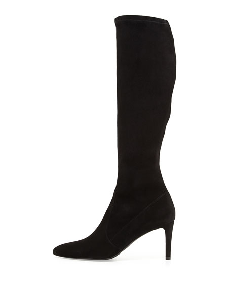 Coolboot Pointed-Toe Suede Boot, Black